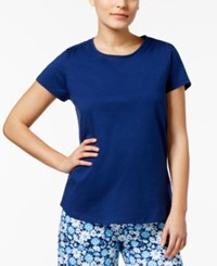 Charter Club Scoop Neck Cotton Pajama T Shirt Only At Macy's Pompador Blue