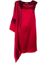 Gianluca Capannolo Asymmetric Draped Midi Dress Red