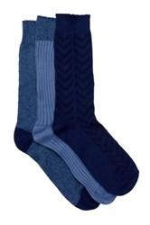 Lucky Brand Overdye Mixed Knit Crew Cut Socks Pack Of 3 Blue