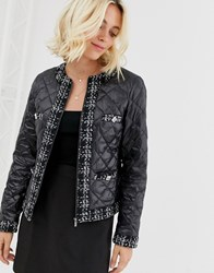 Morgan Quilted Jacket With Check Trim And Pocket Detail In Black
