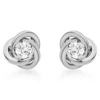 Ibb 9Ct White Gold Cubic Zirconia Knot Stud Earrings White Gold