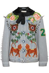 Gucci Calf Hair Paneled Embellished Denim Jacket Light Denim