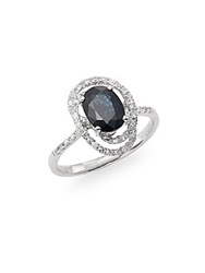 Effy Final Call Sapphire Diamond And 14K White Gold Swirl Ring Blue