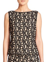 Alice Olivia Embroidered Shell Black
