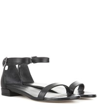 Stuart Weitzman Nudistflat Leather Sandals Black