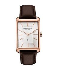 Kenneth Cole Mens Square Stainless Steel And Leather Watch