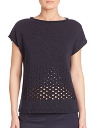 Lafayette 148 New York Luxe Merino Wool And Cashmere Metallic Eyelet Stitch Sweater Ink Metallic