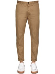 Dsquared 16Cm Hockney Stretch Cotton Twill Pants Camel