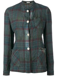 Massimo Alba Plaid Shacket Women Cotton L Green