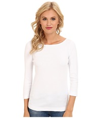 Three Dots 3 4 Sleeve British Tee White Women's Long Sleeve Pullover