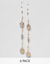 Missguided Mixed Charm And Coin Earrings Multipack In Gold