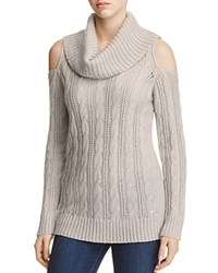 Design History Cold Shoulder Cable Knit Sweater Opal Gray
