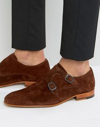 Zign Suede Monk Strap Shoes Brown