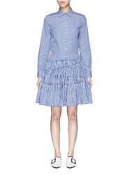 Jourden Gingham Check Asymmetric Tiered Shirt Dress Blue