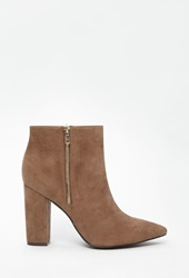 Forever 21 Pointed Zip Up Booties Taupe