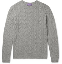 Ralph Lauren Purple Label Cable Knit Cashmere Sweater Gray
