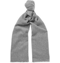 Anderson And Sheppard Pinhead Cashmere Wool Blend Scarf Gray