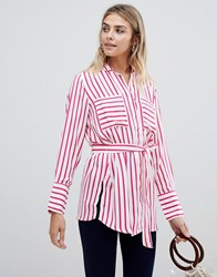 Jdy Fancy Belted Stripe Shirt Cld Dnce Beetroot Red