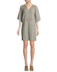 The Great Butterfly Striped Cotton Linen Smock Dress Multi