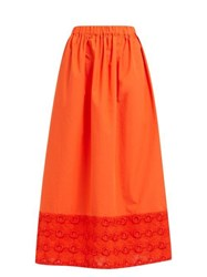 Fendi High Rise Broderie Anglaise Cotton Midi Skirt Orange
