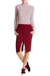 Six Crisp Days Front Back Slit Zip Pencil Skirt Red