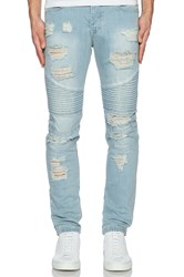 Stampd Distressed Moto Jean Blue