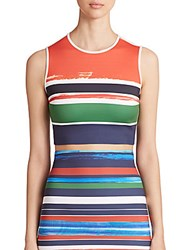 Clover Canyon Striped Neoprene Cropped Top Multi