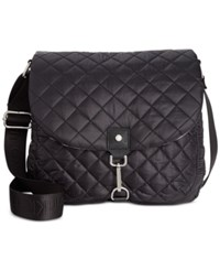 Calvin Klein Cire Nylon Quilted Reversible Messenger Black Lotus