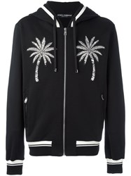 Dolce And Gabbana Palm Tree Patch Zip Hoodie Black