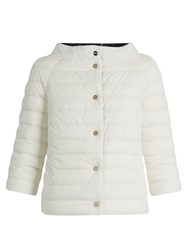 Herno Boat Neck Reversible Quilted Down Jacket White Black