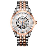 Rotary Men's Mecanique Skeleton Bracelet Strap Watch Silver Rose Gold