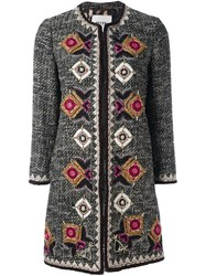 Bazar Deluxe Geometric Embroidery Tweed Coat Black