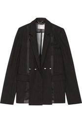 Jason Wu Silk Organza Paneled Wool Blazer Black