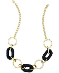 Inc International Concepts Gold Tone Faux Leather Link Collar Necklace Only At Macy's