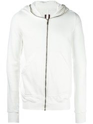 Rick Owens Drkshdw Classic Zipped Hoodie White