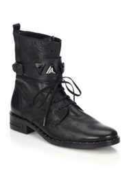 Freda Salvador Trek Leather Jeweled Strap Combat Boots Black