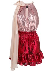Christian Pellizzari Colour Block Sequinned Mini Dress With Bow Red