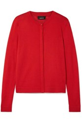 Akris Cashmere And Silk Blend Cardigan Red