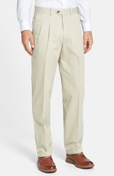 Men's Big And Tall John W. Nordstrom Smartcare Pleated Supima Cotton Pants Tan