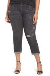 Lucky Brand Reese Embroidered Boyfriend Jean Plus Size Gray