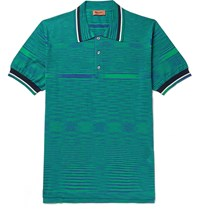 Missoni Space Dyed Cotton Jersey Polo Shirt Green