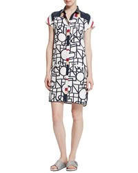 Raoul Teegan Printed Silk Shirtdress Illusion Stripes