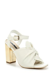 Lost Ink Mercy Bow Front Heeled Sandals White