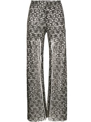 Huishan Zhang Pleated Lace Trousers Women Polyester 12 Black
