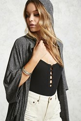 Forever 21 Contemporary Marled Cardigan Black Ivory