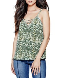 Guess Printed Plunging V Neck Top Green