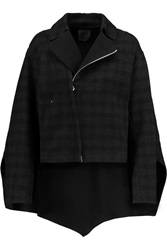 Agnona Convertible Checked Cashmere Jacket Black