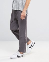Asos High Waisted Wide Leg Trousers With Fabric Belt In Mid Grey Mid Grey