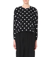 Comme Comme Des Garcons Polka Dot Print Cotton Jersey Top Black Off White