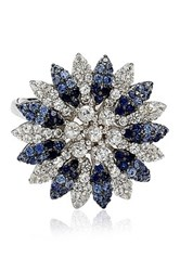 Suzy Levian Jewelry Sterling Silver Blue Sapphire Created White Sapphire And Brown Diamond Flower Ring